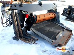 Good used 2004 MacDon 873 adapter for sale at Combine World in Saskatchewan. (Full view, front RHS corner.  Main image.)