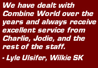 "Testimonial: ""We have dealt with Combine World over the years and always receive excellent service from Charlie, Jodie and the rest of the staff.""  Lyle Ulsifer, Wilkie SK"