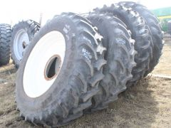 Goodyear Ultratorque Radial DT712 used tire for sale. 169A8 rating, tubeless, traction tread, 10/10 (like new). Tire only. New Holland SP.400/SP.370 series sprayer rim add $750.