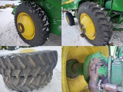 "Factory duals w/heavy-duty rims (11"" dia. center hole) off a John Deere 9610 combine. Axle ext'ns, spacers, tires, rims & hardware."