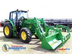 2015 John Deere 6120M MFWD tractor for sale. 816 hrs, 120 HP, 12 fwd, 4 rev, FEL w/bucket & grapple, diff lock, 3PH, 3 rear hyds, exc. cond.