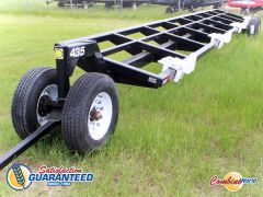 New Industrias America tandem axle header transport for sale. 35' dolly-style transport. 4 saddles, pin hitch.