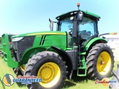 John Deere 7215R tractor for sale. 4654 hrs, 215 HP, GPS-ready, GreenStar3 monitor, integrated steering, large 1000 PTO, diff lock, 3 hyds, nice condition.