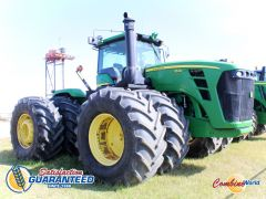 John Deere 9530 4WD tractor for sale. 7900 hrs, 475 HP, p/s, 18 fwd/6 rev, 4 hyds, front & rear duals, nice tires, very good cond.