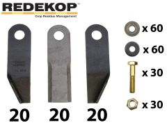 Redekop high velocity straw chopper blade kit (conversion kit, 60 blades) for AGCO Massey Ferguson & Challenger combines.
