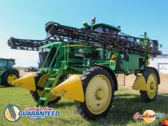 """John Deere 4830 sprayer for sale. 1817 hrs, 100' booms, 1000 gal stainless, 275 HP, auto-height, 46"""" tires good, nice cond."""
