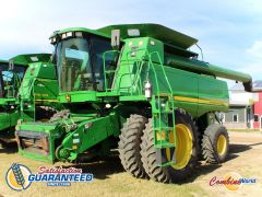 John Deere 9760 STS combine for sale. 2702/3805 hrs, GPS-ready, lat tilt, AHHC, F/A, reel speed, Y&M, hopper ext'n, 20' aug. Looks vg.