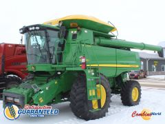 John Deere 9870 STS combine for sale. 2350/3206 hrs, GPS-ready, Command Ctr, Y&M, hopper ext'n w/cover, 26' aug, very nice.