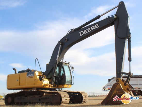 """John Deere 290G LC excavator for sale. 3923 hrs, 188 HP, 2 spd, 64"""" bucket, 32"""" pads, heated seat, reg monitor. Very nice condition."""