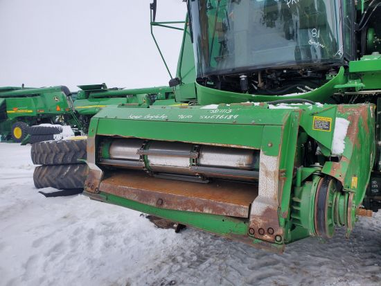 Complete feederhouse w/lateral tilt and Air Flow (variable drive). Off a JD 9610 combine; may work on 9600 & 9650. 8/10 cond.
