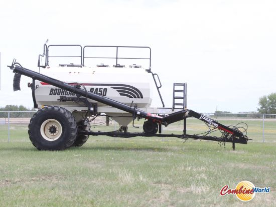 Bourgault 6450 TBT air cart for sale. 450 total bu, 4 tanks, double shoot, variable rate, double fan, w/monitor & harness. Good cond.