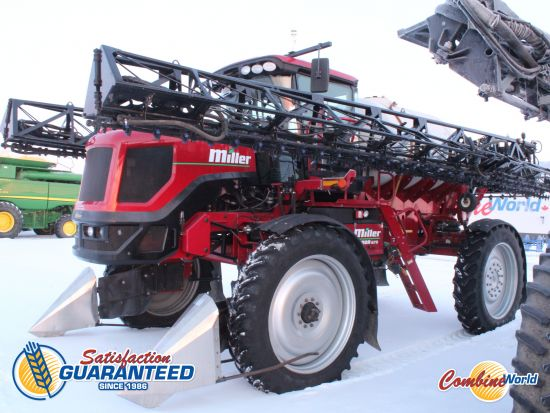 Miller Condor G75 sprayer for sale. 3250 hrs, 120', 1000 gal poly, 275 HP, 2WD, GPS, auto-rate/boom, rear duals, crop dividers. Cab excellent, very nice sprayer.