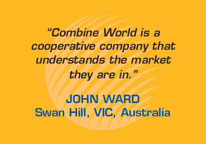 "Testimonial: ""Combine World is a cooperative company that understands the market they are in."" - John Ward, Swan Hill, Victoria, Australia"