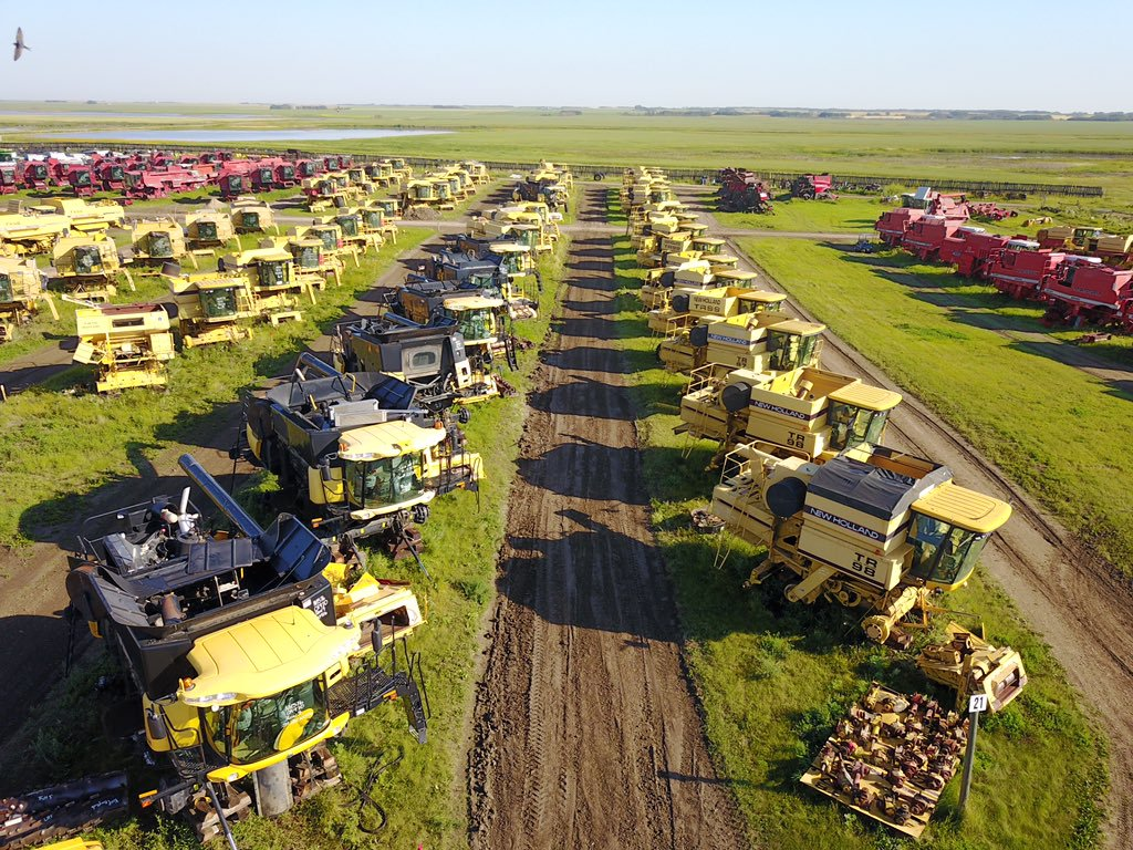 Aerial view of Combine World's combine salvage yard.